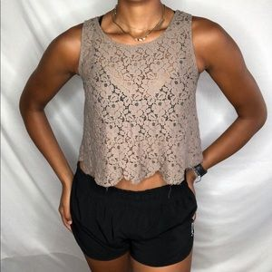 Love Blossom olive lace crop Top M